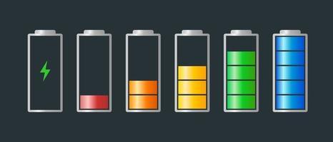 nível de indicador de energia carregado de bateria de alta a baixa potência definido com o ícone de recarga. bateria vazia a cheia indicando símbolos de cilindro verde vermelho laranja amarelo azul. ilustração vetorial de carga de baterias vetor