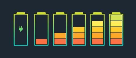 conjunto de ícones do indicador de carga da bateria. nível de carga potência total baixo para alto e plugue elétrico. ilustração em vetor status de energia alcalina de gadget