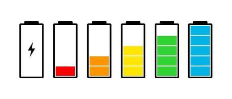 conjunto de ícones do indicador de carga da bateria. nível de carga potência total baixo para alto e plugue elétrico. ilustração em vetor gadget flat energy status