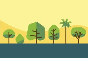coleção de design plano de árvore de simplicidade e arbusto. ilustração vetorial. vetor