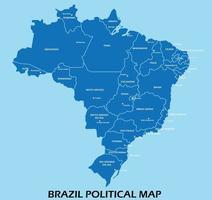 mapa político do brasil dividido por estado estilo de simplicidade de contorno colorido. vetor