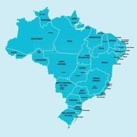 Doodle desenho à mão livre mapa político do Brasil com as principais cidades. ilustração vetorial. vetor
