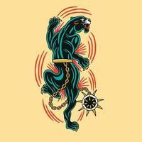 pantera negra está em uma ilustração vetorial de fúria vetor