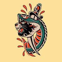 a cabeça da pantera e a cobra e a faca têm um vetor de rosa vermelha