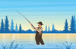 pesca no lago na ilustração de verão vetor