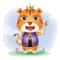 ilustração em vetor tigre rei fofo