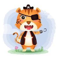 ilustração em vetor tigre piratas fofos
