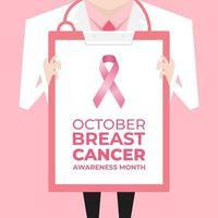 médico com jaleco segurando uma prancheta mostrando um sinal de fita rosa. banner de conscientização do câncer de mama. vetor
