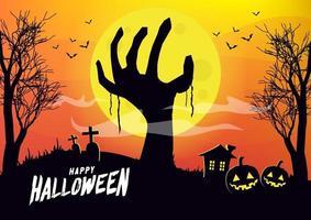 mão de zumbi levantando-se do chão na noite de lua cheia. conceito de feliz dia das bruxas. vetor