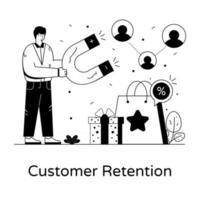 retenção de clientes e desconto vetor