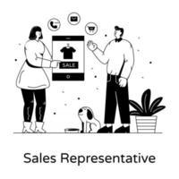 representante de vendas online vetor