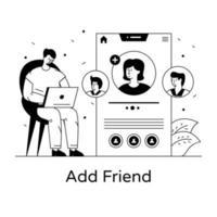 adicionar amigo na conta vetor