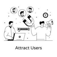conceito de atrair usuários vetor