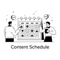 programação e planejador de conteúdo vetor