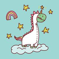 Dinossauro quer ser um unicórnio vetor