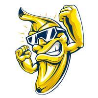Caráter de banana muscular legal em óculos de sol vetor