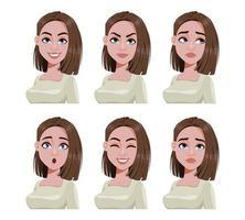 expressões faciais de mulher com cabelo castanho vetor