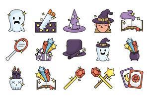 pacote de ícones de conjunto de feitiçaria mágica vetor