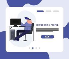 rede de pessoas e homem no design de vetor de mesa