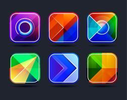 Quadros de ícones de app abstrata vetor