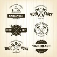Emblemas de carpintaria vintage vetor