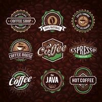 Emblemas de café com estilo retrô