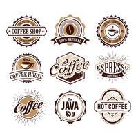 Emblemas de café com estilo retrô vetor
