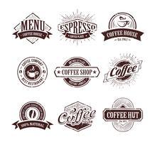 Café retrô selos vetor