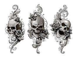 Crânios com padrões florais vetor
