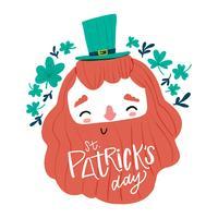 Bonito homem irlandês com barba longa sorrindo, trevos ao redor e letras vetor