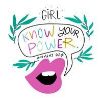 Lábios de mulher bonita, bolha do discurso, folhas e letras sobre o dia da mulher vetor