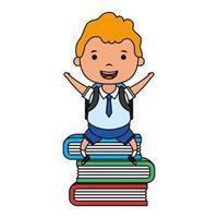 estudante loiro bonito sentado no personagem de livros vetor