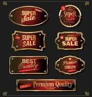 Retro vintage preto e ouro emblemas e etiquetas coleção