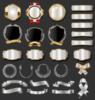 Retro vintage preto e ouro emblemas e etiquetas coleção vetor