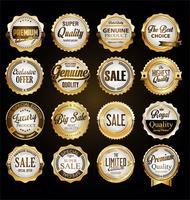 emblemas e etiquetas douradas de qualidade premium vetor
