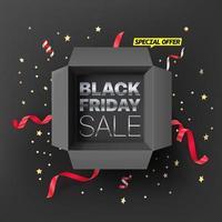 conceito de venda de sexta-feira negra. texto em caixa preta aberta vetor