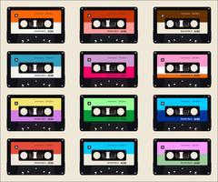 fundo colorido de cassetes de áudio