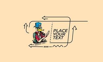 desenho animado de ladrão de pato plano linear segurando a bandeira de faca, pergaminho, adesivo, crachá, etiqueta de preço, cartaz. vetor