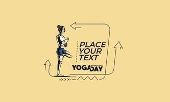 mulher plana linear praticando ioga banner, pergaminho, adesivo, distintivo, etiqueta de preço, cartaz. vetor