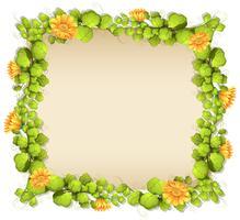 Fronteira de folhas e flores amarelas