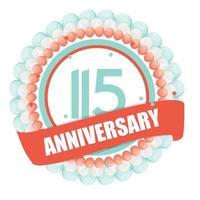 Modelo fofo aniversário de 115 anos com balões e ilustração vetorial de fita vetor