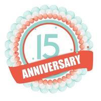 Modelo fofo aniversário de 15 anos com balões e ilustração vetorial de fita vetor
