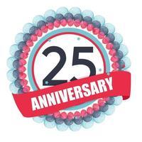 modelo fofo aniversário de 25 anos com balões e ilustração vetorial de fita vetor