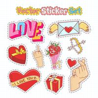 Adesivos de dia dos namorados Patches no estilo Doodle. Ilustração vetorial