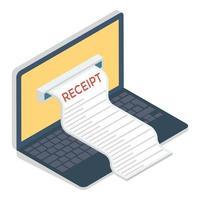 papel para fatura online vetor