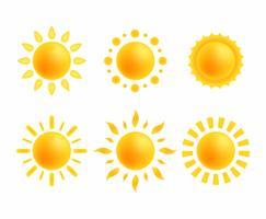 Conjunto de clipart de sol vetor