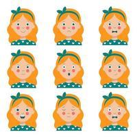 conjunto de várias expressões faciais de menina de cabelos vermelhos bonito dos desenhos animados. vetor