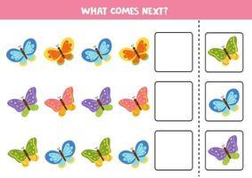 qual borboleta vem a seguir. quebra-cabeça educacional para crianças. vetor