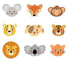 conjunto de animais fofos. rostos de animais selvagens e domésticos. vetor