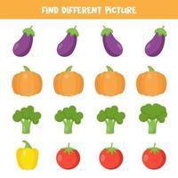 encontre vegetais diferentes em cada linha. planilha educacional para crianças. vetor